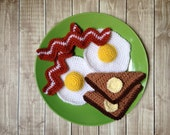 Breakfast Plush Play Food, Bacon Eggs and Toast Play Food