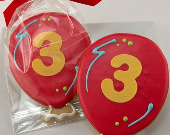 Balloon Cookies for Birthday - 12 Decorated Sugar Cookie Favors