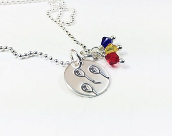 Colorful Balloon Necklace - Up and Away Jewelry - Delicate Whimsical Jewelry - Primary Color - Hand Stamped Necklace - Silver Charm Necklace