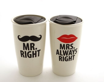 Mr and Mrs travel mug set, mustache and lips mugs , Mr Right and Mrs Always Right , great wedding gift for couple