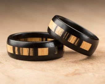 Custom Pale Moon Ebony Wood Ring Set - 8mm