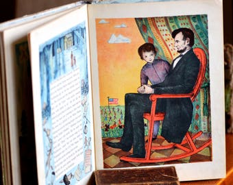 FIRST EDITION 1939, Abraham Lincoln by Ingrid D'Aulerie, children's book, antique book from an estate sale, collectibles, cool vintage, T 14