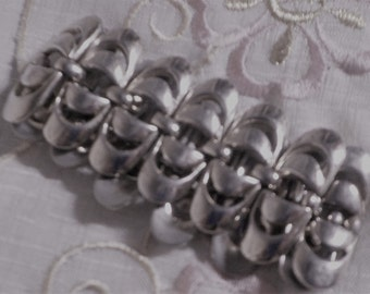 Vintage Silver Tone Metal Linked Bracelet - 1960 Era - Sleek Simple Design