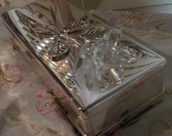 Elegant and very chic - Silver Plated Jewelry Box - Vanity Box - Glass Rose - Vintage - 1950 Era