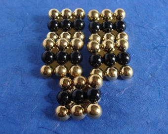 5 Black and Gold Colored Large Plastic Square Shank Buttons -  30mm  - Downsizing SALE  Must Go!