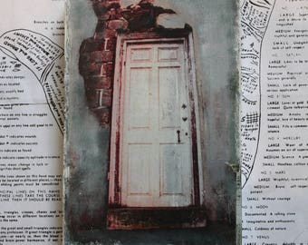 Wooden Door, Original, Miniature, Art, 4 x 6, Stone Wall, Abandoned, House