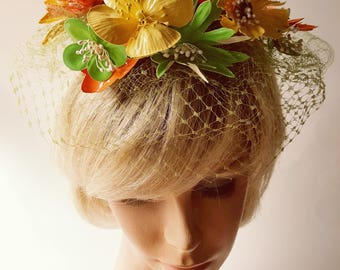 Lenore Marshall Hat / Vintage Hat / Hat with Flowers / Lenore Marshall /Hat with Veil
