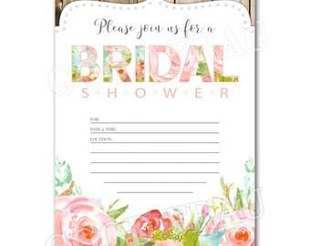 Printable bridal shower invitation, Pink floral shower invitation, Digital download DIY printable