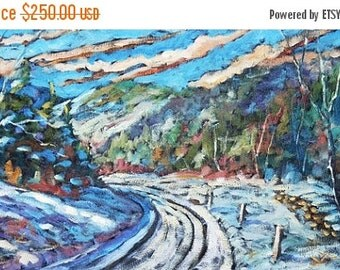 On Sale Logging Road in Winter Original Oil Painting created by Prankearts