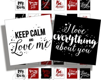 Printable, new valentines phrases 1x1 inch for pendant, scrapbook and more Digital Collage Sheet No.1693