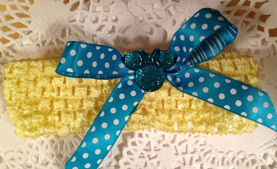 Mouse Ears Garter Disney Inspired Wedding Yellow and Aqua Blue Polka Dot Headband Bride Flower Girl Something Blue