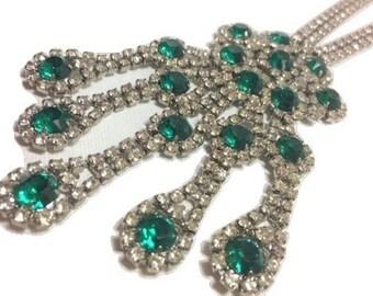 Vintage Chandelier Medallion Green Rhinestone Necklace