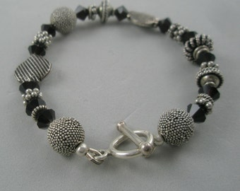 Silver and Cranberry Bracelet