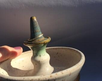 Ceramic Ring Holder Matt cream and  Green Glaze Ready to Ship