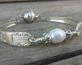 Stunning Antique Silverware Bracelet With Freshwater Pearl