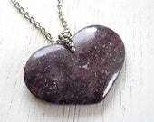 Black Friday SALE - Purple Lepidolite Heart Shaped Pendant Necklace