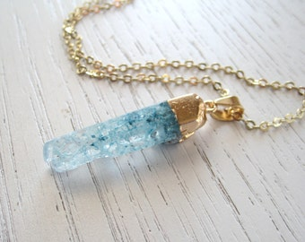 Blue Gold Dipped Crystal Quartz Terminated Point Pendant