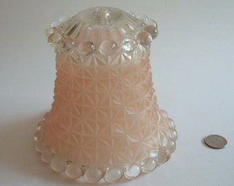 Art Deco Frosted Pink Glass Hobnail Lampshade, Quilted Basketweave Pattern, 5.75 in. high x 6 in. dia. xbase x 4.25 in. dia. top