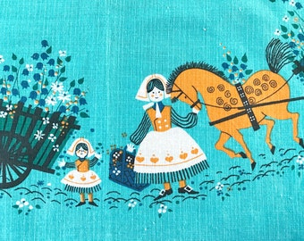 Vintage SWEDISH Tablecloth Families Horses Square Table Cloth Flower Carts Hand Printed Textile