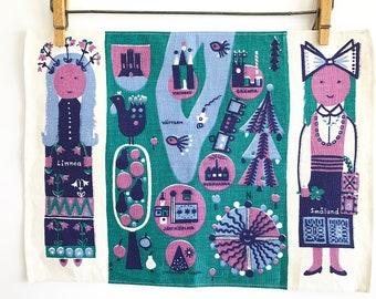 Vintage Linen Placemat Swedish Map Pretty Girls Scandinavian Textile Art Wall Hanging