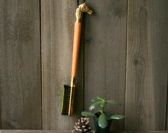 Vintage Clothes Brush Brass Wood and Bristle Vintage From Nowvintage on Etsy