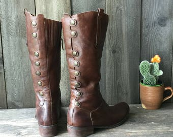 Tall Bohemian Fashion Leather Boots Button Boho Dwtail Zip Side Vintage From Nowvintage on Etsy