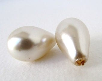Vintage Japanese Glass Pearl Beads Ivory Pear Off White Teardrop Hollow Japan 23mm vgp0564 (2)