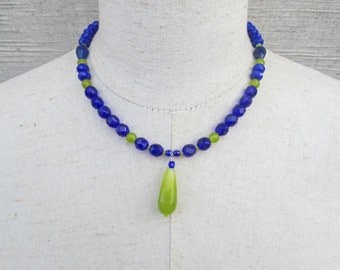 Peridot Green Cobalt Blue Double Petite Beaded Pendant Necklace