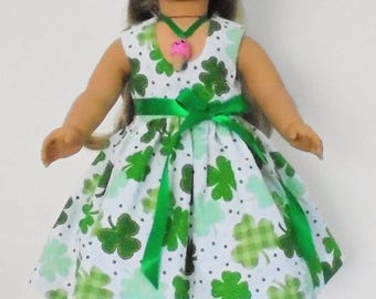 St. Patrick's Day Summer dress designed for American Girl 18 inch doll   No. 697