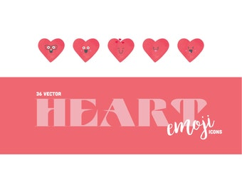 36 Heart Emoji Icons (PNG & JPG) - scrapbooking and handmade valentines - watercolor red texture