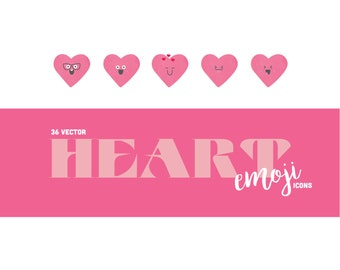 Pink Heart Emoji Icons (PNG & JPG) - Use for scrapbooking and handmade valentines - 36 icons with watercolor texture