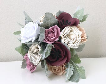 Mara Louise Blush and Maroon Book Page Bouquet
