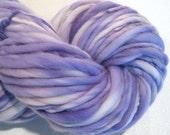 Bulky Handspun Yarn Almost Solid LIlac 90 yards hand dyed wool purple yarn violet yarn waldorf doll hair knitting supplies crochet supplies