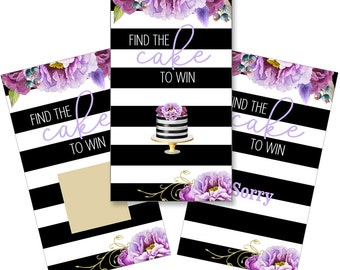 Set of 12 Scratch Off Game Cards for Bridal Showers with Purple Flowers on Black SCB001