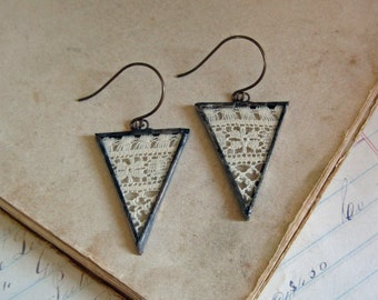 Vintage Lace Earrings Boho Wedding Jewelry Triangle