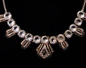 Vintage REJA Open Back Crystal and Rhinestone Necklace