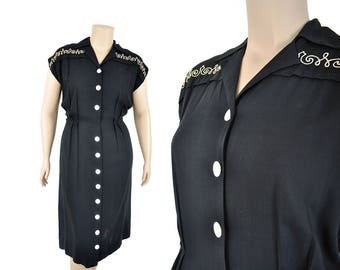 "40s black and white dress /  soutache squiggle dress  / 1940s button down dress .. 36"" waist"