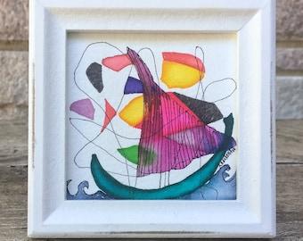 """Original Watercolor Painting - Sailing  - 4"""" x 4"""""""