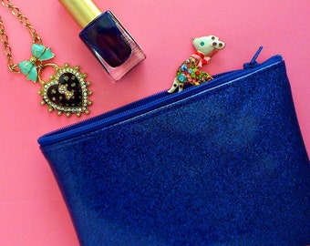 Blue Zipper Pouch Blue Glitter Vinyl Zipper Cosmetic Makeup Bag Accessories Travel Pouch Small Purse