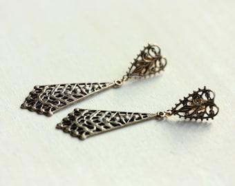 Vintage Brass Filigree Dangle Earrings