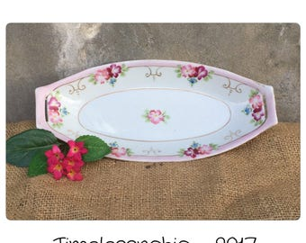 Nippon Dish - Oval Dish - Serving Dish  - Shabby Chic Dish - Vintage Oval Dish - Hand Painted Dish - Oval Tray - Vintage Tray - Catchall