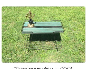 Mid Century Table - Mid Century Modern - Reclaimed Wood Table - Black Side Table - End Table  - Record Player Table - Record Plauer Stand