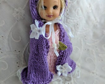 """Lovely Hand Knit Cape in Purple with White Lace & Flowers fits 4"""" Kelly Dolls  #29"""