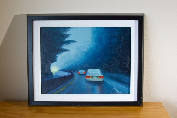 Original Oil Painting Hwy Study Rainy Landscape