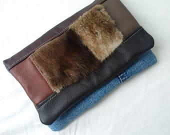 recycled denim jeans clutchbag, recycled fur clutch clutch bag, levis, recycled leather bag, denim bag , man bag, jeansbag, repurposed denim