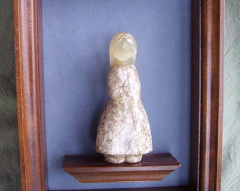 Vintage framed Russian stone carving of girl, Selenite Moonstone