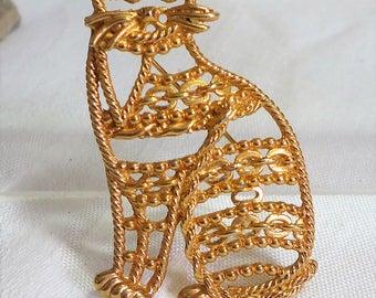 Vintage AJC Brooch Cat Gold Tone Metal Large A J C 1980's
