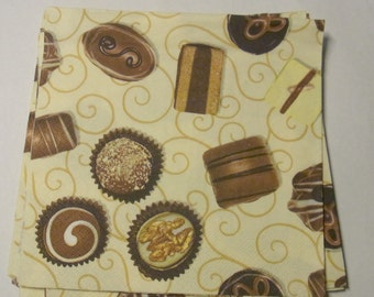 Decoupage Napkins,  vintage paper napkins, chocolates on cream background