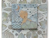 Ceramic wall art, Woman,Home Decor, Moonlight Meditation,Nature Inspired, hand made