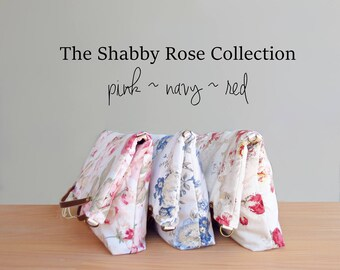 Shabby Rose Shoulder Bag in Pink Navy and Red, Vintage Style Convertible Floral Bag with Leather Strap, Cottage Chic Rose Purse,  USA Made
